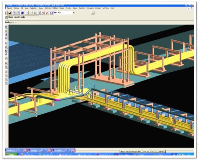نمونه ای از عبور خطوط لوله نفتی جدید با پلهای دسترسی در محل تقاطع با معابر موجود (مدل سه بعدی Piping)