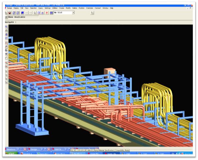 خطوط لوله موجود(قهوه ای رنگ) و خطوط لوله جدید(زردرنگ) در محدوده کریدور A (مدل سه بعدی Piping)