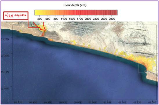 محدوده و عمق آب گرفتگی سواحل محدوده لیپار بر اساس سونامی در دریای عمان